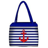 Синяя женская сумка Сатчел с принтом Якорь