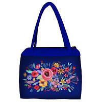 Синяя женская сумка Сатчел с принтом Цветочный бум