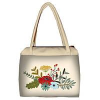 Молочная женская сумка Сатчел с принтом Цветочный бум