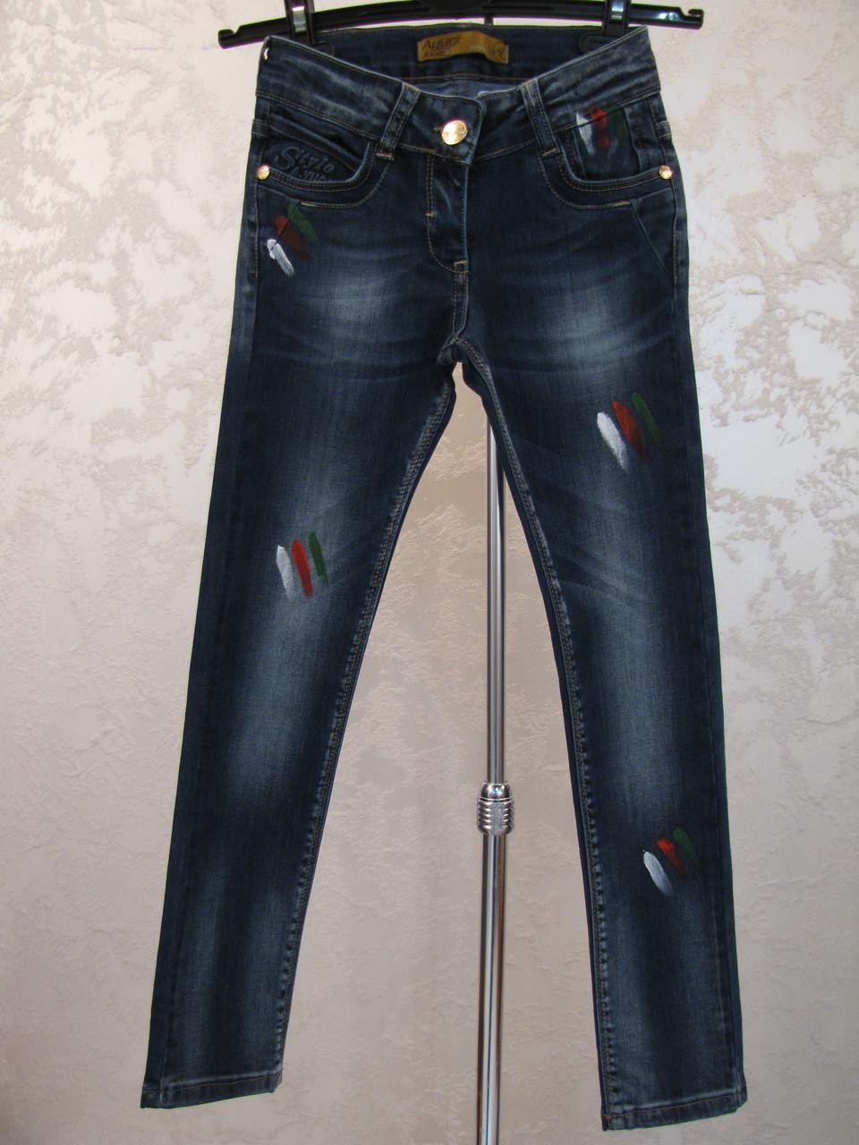 Модные джинсы для девочек 128,134,140 роста Капли