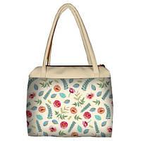 Молочная женская сумка Сатчел с принтом Маки