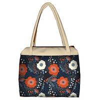 Молочная женская сумка Сатчел с принтом Цветочная фантазия