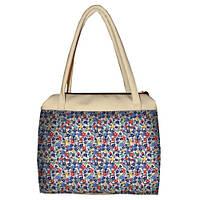Молочная женская сумка Сатчел с принтом Ромашки цветные