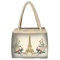 Молочная женская сумка Сатчел с принтом Париж