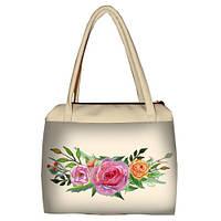 Молочная женская сумка Сатчел с принтом Розы