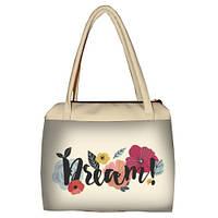 Молочная женская сумка Сатчел с принтом Мечтай