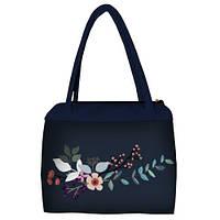 Синяя женская сумка Сатчел с принтом Цветок