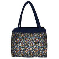 Синяя женская сумка Сатчел с принтом Ромашки цветные
