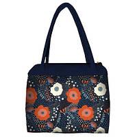 Синяя женская сумка Сатчел с принтом Цветочная фантазия