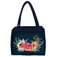 Синяя женская сумка Сатчел с принтом Маки розовые