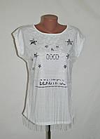 """Стильная футболка с ажуром """"Good"""" - белый"""