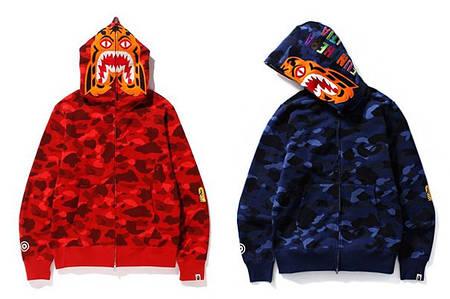 Мужская Худи Bape  shark hoodie Camo red, blue