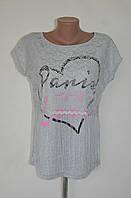 """Стильная оригинальная футболка с бахромой  """"Paris city of love"""" - серый"""