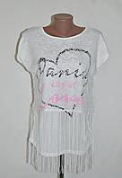 """Стильная нарядная футболка с бахромой """"Paris city of love""""- белый"""