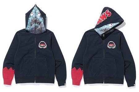 Мужская Худи Bape  shark hoodie Black| Черный JAWS