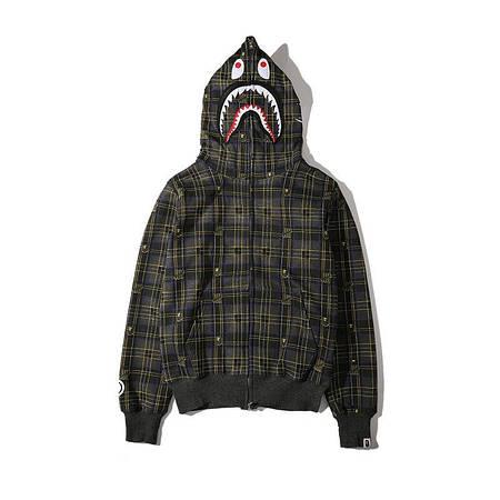 Мужская Худи Bape  shark hoodie Клетка темная