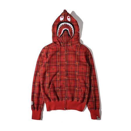 Мужская Худи Bape  shark hoodie клетка Red| красная