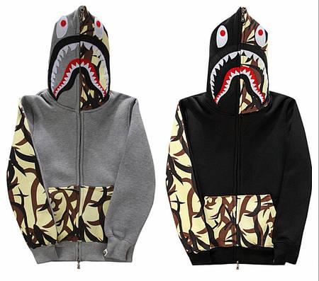 Мужская Худи Bape  shark hoodie Gray and Black Camo вставки