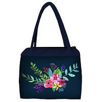 Синяя женская сумка Сатчел с принтом Букет цветов