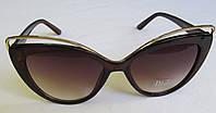 Стильные женские очки Кошечки коричневые, фото 1