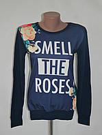 "Свитшот с цветами ""Smell""  - темно-синий"