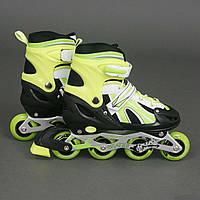 """Ролики 2002 """"М"""" Best Rollers /размер 35-38/ цвет-САЛАТОВЫЙ (6) колёса PVC, переднее колесо со светом, в сумке,"""