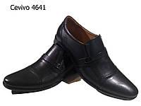 Туфли мужские классические  натуральная кожа черные на резинке (4641)