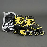 """Ролики 9002 """"М"""" Best Rollers цвет-ЖЁЛТЫЙ /размер 35-38/ (6) колёса PU, без света, в сумке, d=7 см"""