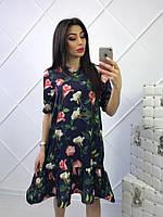 Платье с цветочным принтом, юбка реглан