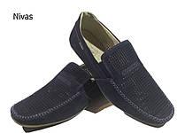 """Мокасины мужские на резинке натуральная перфорированная кожа """"нубук"""" синие (Нивас)"""