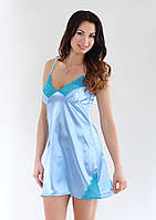 Сорочка из атласной ткани с кружевами, небесно голубой цвет, размер S-M (EU38, RUS44)
