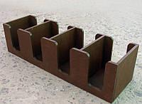 Подставка для 4х крышек/ стаканчиков, дерево, коричневая