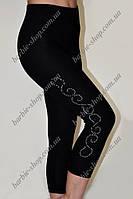 Женские бриджи черного цвета с украшением 11101