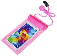 Водонепроницаемый чехол сумка для телефона 5,5 дюймов. Розовый