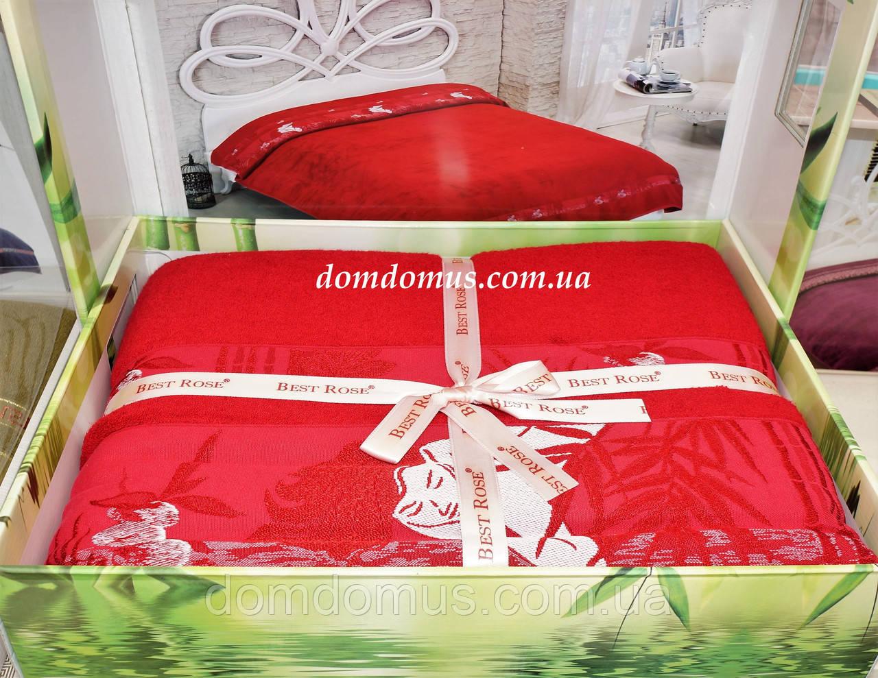 Махровая простынь Best Rose Bamboo 200*220, красная