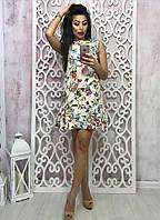 Платье с цветочным принтом, без рукава