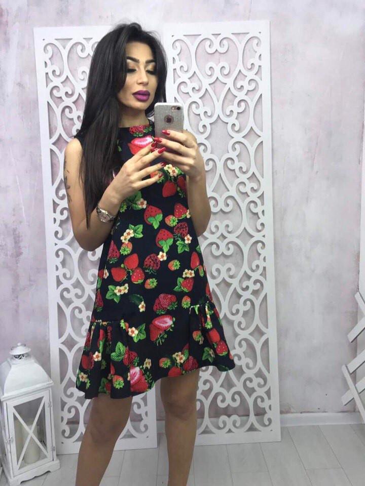 Женское платье с цветочным принтом, без рукава