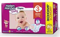 Оптовое предложение. Подгузники Helen Harper Baby Midi 3 (4-9 кг) 70 шт