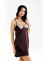 Сорочка из атласной ткани с кружевами, коричневый цвет, размер S-M (EU38, RUS44)