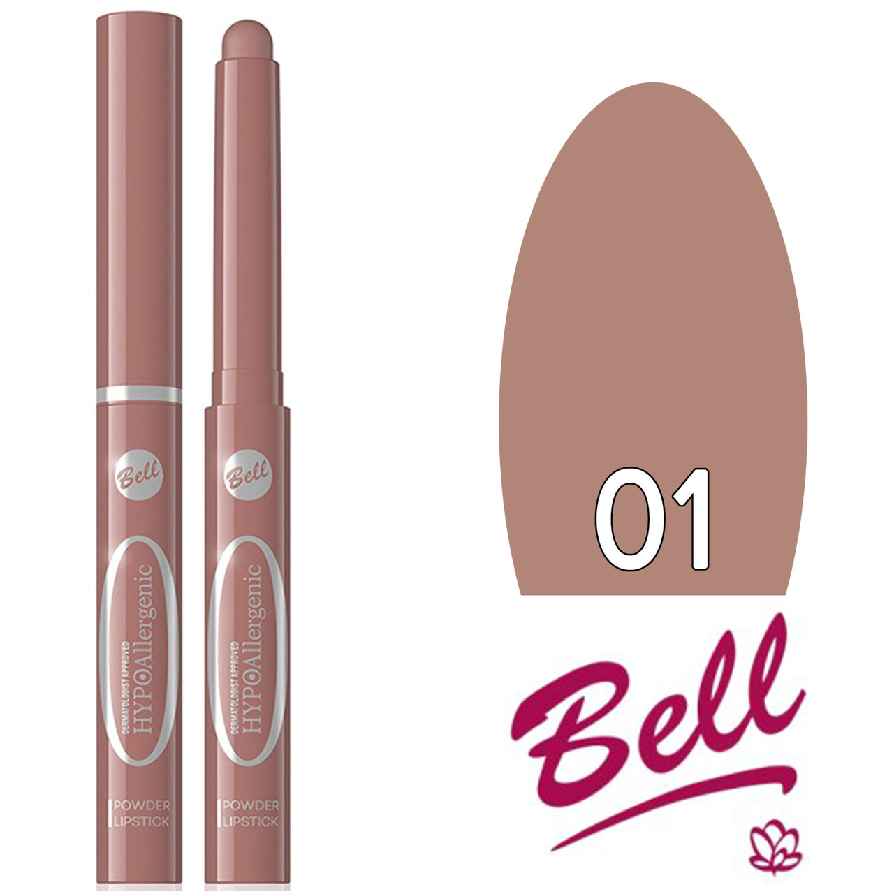 Bell HypoAllergenic - Губная помада Powder Lipstick Тон 01 natural матовая