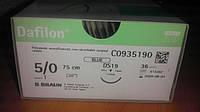 Дафилон Dafilon Нейлон Монофиламент 5/0, 19 мм обратно-режущая игла 3/8 окружности синяя нить 75 см