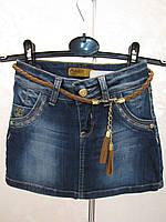 Джинсовая юбка для девочки 116 роста Мини с поясом