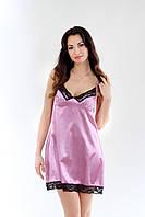 Сорочка из атласной ткани с кружевами, фиолетовый цвет, размер S-M (EU38, RUS44)