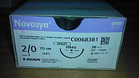 Новосин Novosyn, Полигликолиевая кислота 2/0, 40 мм, колющая игла, 1/2 окружности, 70 см
