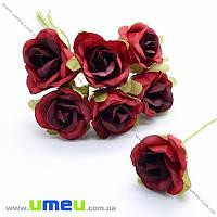 Роза тканевая, 20 мм, Красная, 1 шт (DIF-019798)