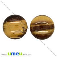Кабошон нат. камень Тигровый глаз, Круглый, 25 мм, 1 шт (KAB-019932)