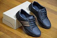 Мужские повседневные туфли черные удобные искусственная кожа Львов 2017