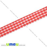 Лента тканевая Шотландка, 25 мм, Красная, 1 м (LEN-019675)