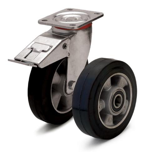 Колеса из эластичной резины с алюминиевым диском. Нагрузка 120 - 670 кг. t -20 - +70С. Серия 20