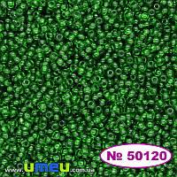Бисер чешский 13/0, №50120, Зеленый, Прозрачный, 5 г (BIS-019782)